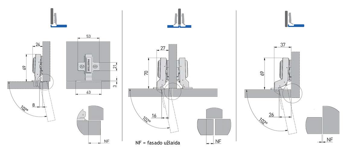 Lankstas hidraulinis ECHC GTV, su plokštele - projektavimas