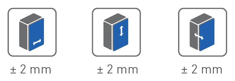 Reguliavimas: 2-2-2mm
