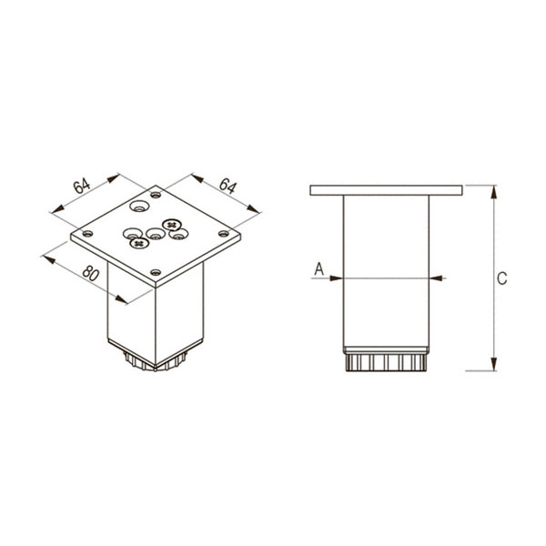 Kojelė kvadratinė 45x45mm reguliuojama