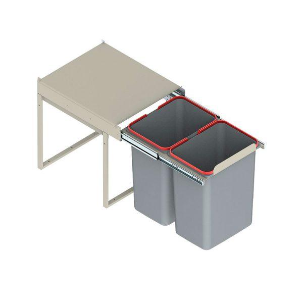 Šiukšliadėžė pilno ištraukimo dviejų dalių JC (be fasado laikiklių)