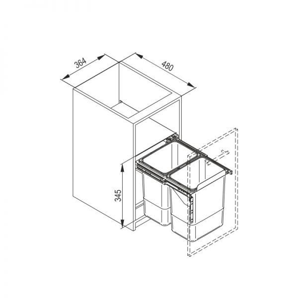 Šiukšliadėžė pilno ištraukimo dviejų dalių JC602 (be fasado laikiklių)