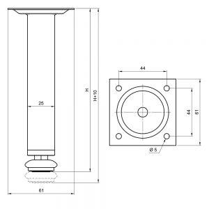 Kojelė kvadratinė 25x25mm