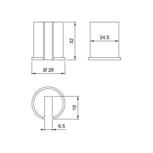 Įdėklas jungčiai, 6mm stiklui