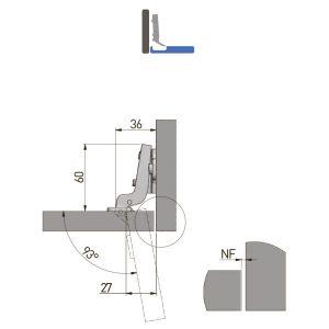 Lankstas BICN vidinis Ø35 su plokštele H-0 be euro varžtų