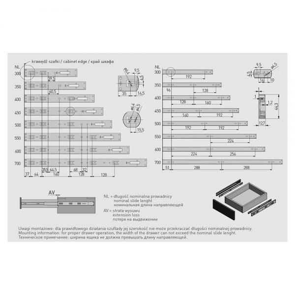 Bėgeliai guoliniai pilno ištraukimo H45 su integruotu atmetimo mechanizmu