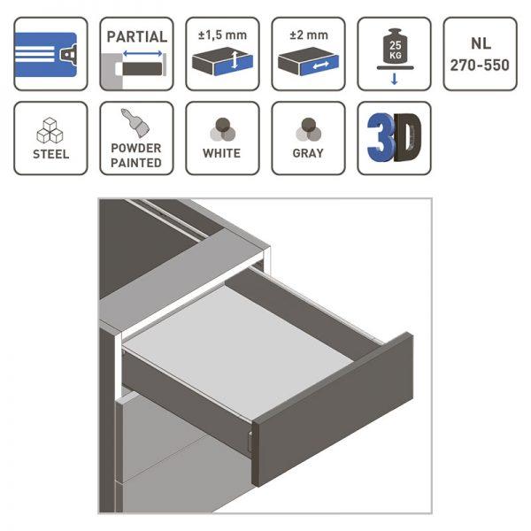Metalbox MP stalčių šonų komplektas