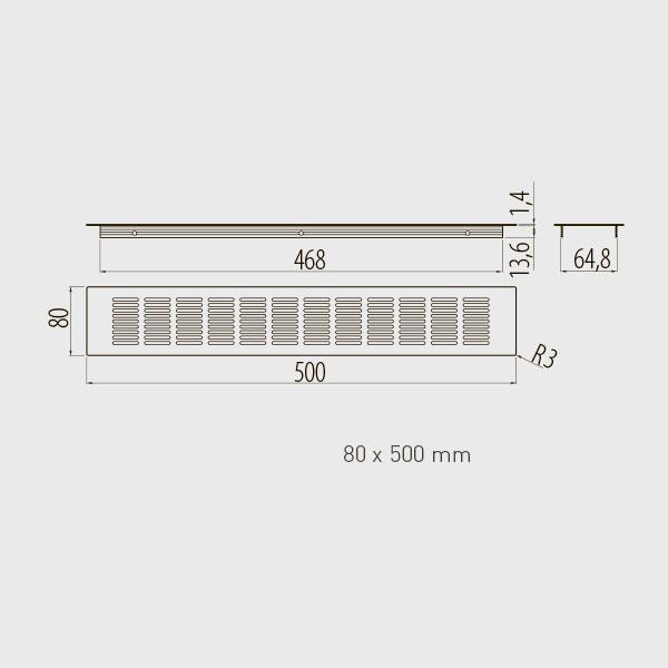 Ventiliacinės grotelės L-500 H-80