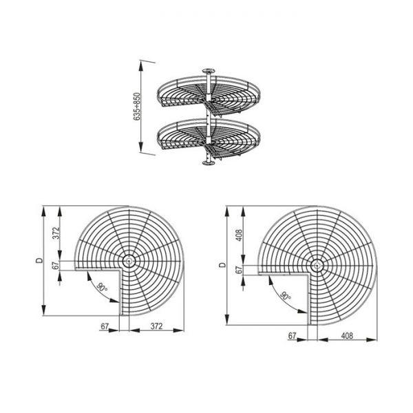 Karuselė NOVA 3/4 rato su vielinėm lentynomis