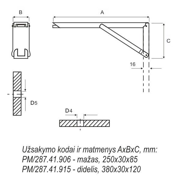 Sieninis stalo nuleidimo mechanizmas