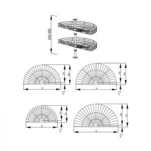 Karuselė VARIANT 1/2 rato su vielinėm lentynomis