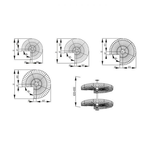 Karuselė VARIANT 3/4 rato su vielinėm lentynomis